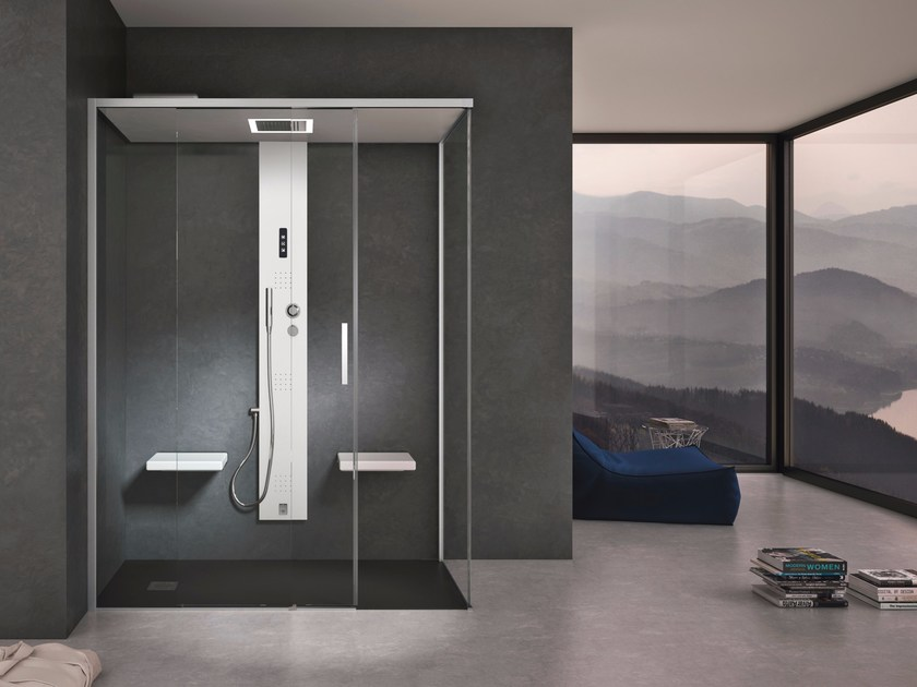 Steam shower cabin with sliding door GEMINI + GSTEAM by Gruppo Geromin