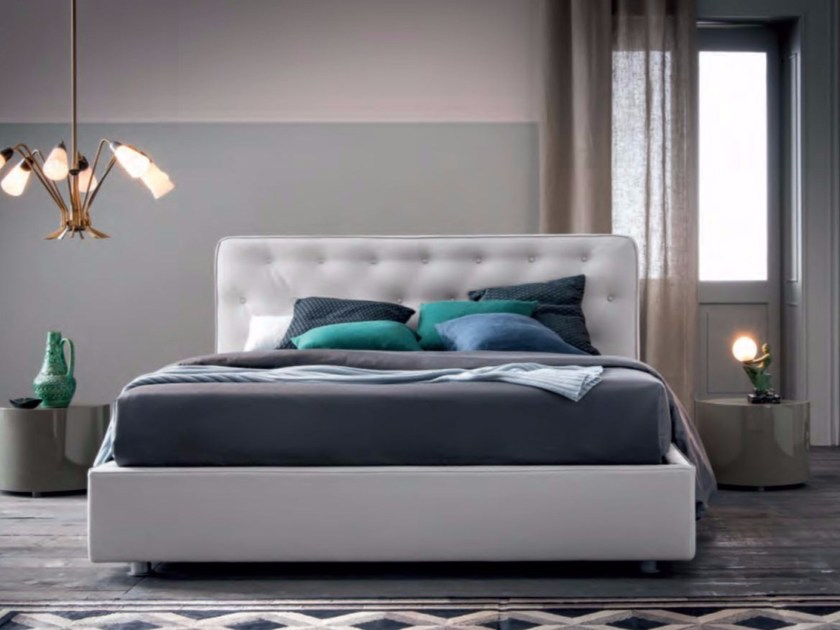 Upholstered fabric double bed GEMMA by Dall'Agnese