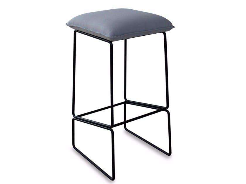 Upholstered fabric stool with footrest GEMMA | Stool - Altinox Minimal Design
