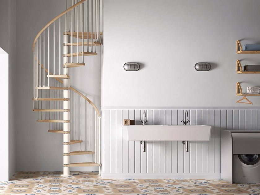 Steel and wood Spiral staircase GENIUS 020 | Spiral staircase by Fontanot Spa