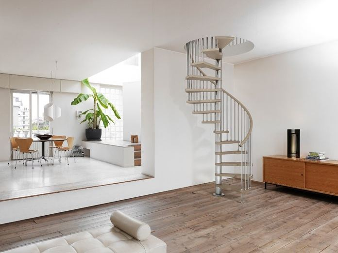 Steel and wood Spiral staircase GENIUS 030 + 2:Easy - Fontanot Spa