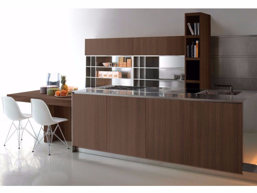 Steel and wood kitchen with island GHOST EUCALIPTUS - Xera by Arex