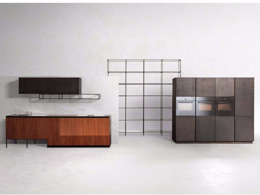 Linear steel and wood kitchen GHOST MAHOGANY - Xera by Arex