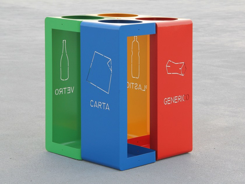 Outdoor steel waste bin for waste sorting GIBILLERO - LAB23 Gibillero Design Collection