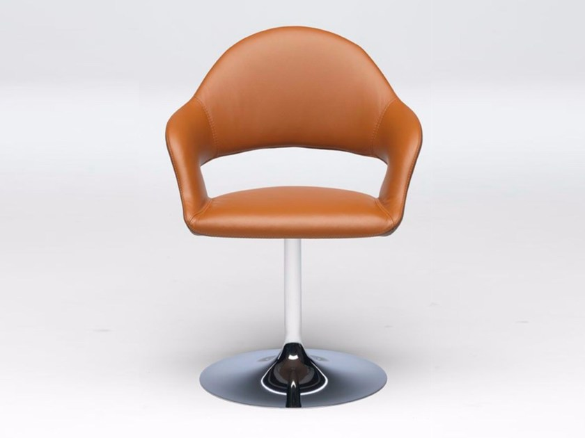 Leather chair with armrests GINEVRA by Paolo Castelli