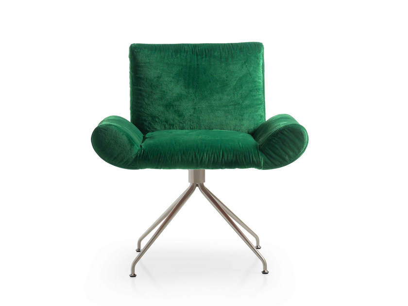 Velvet guest chair GINEVRA   Trestle-based armchair - Quinti Sedute