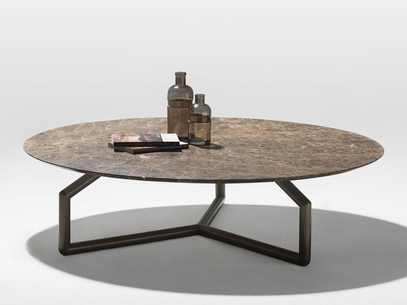 Low round marble coffee table GINGER - Esedra by Prospettive