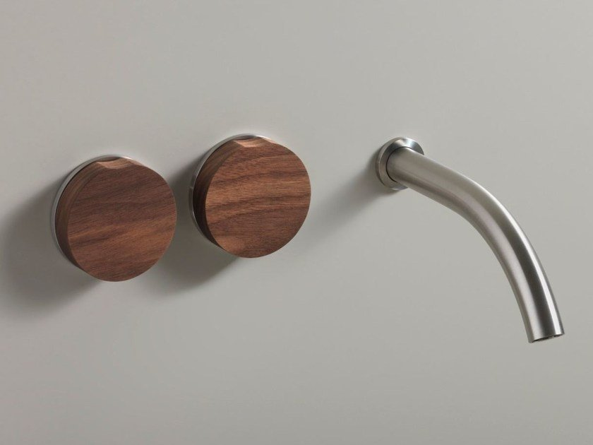 3 hole wall-mounted washbasin tap GIO 11 WOOD by Ceadesign