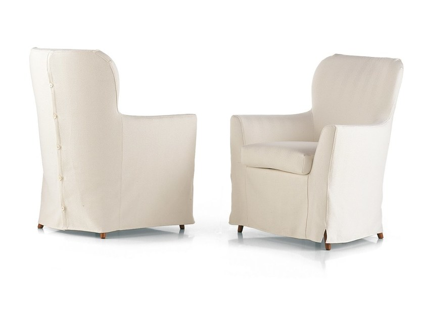 Upholstered armchair with removable cover GIORGIA - Flou