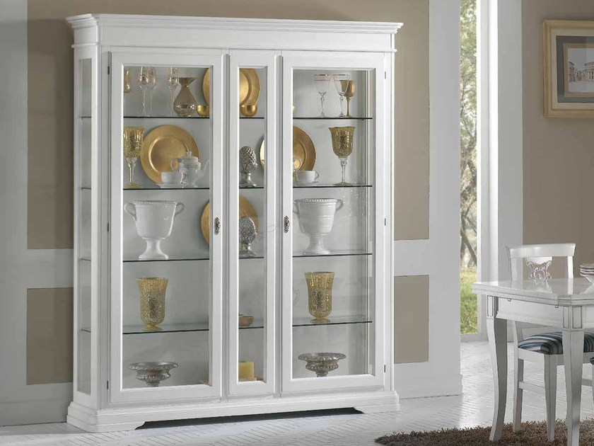 Lacquered wood and glass display cabinet GIOTTO | Lacquered display cabinet - Arvestyle