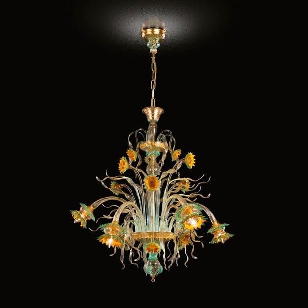 Classic style handmade glass chandelier GIRASOLE | Blown glass chandelier by MULTIFORME