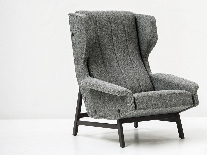 Fabric wingchair with armrests GIULIA | Armchair by Tacchini