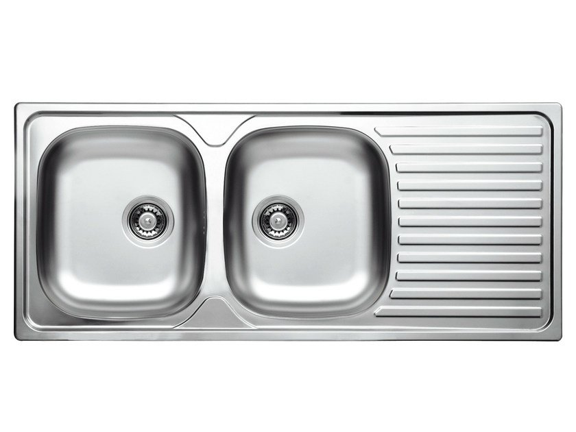 2 bowl built-in sink with drainer GL216IX | Sink by Glem Gas