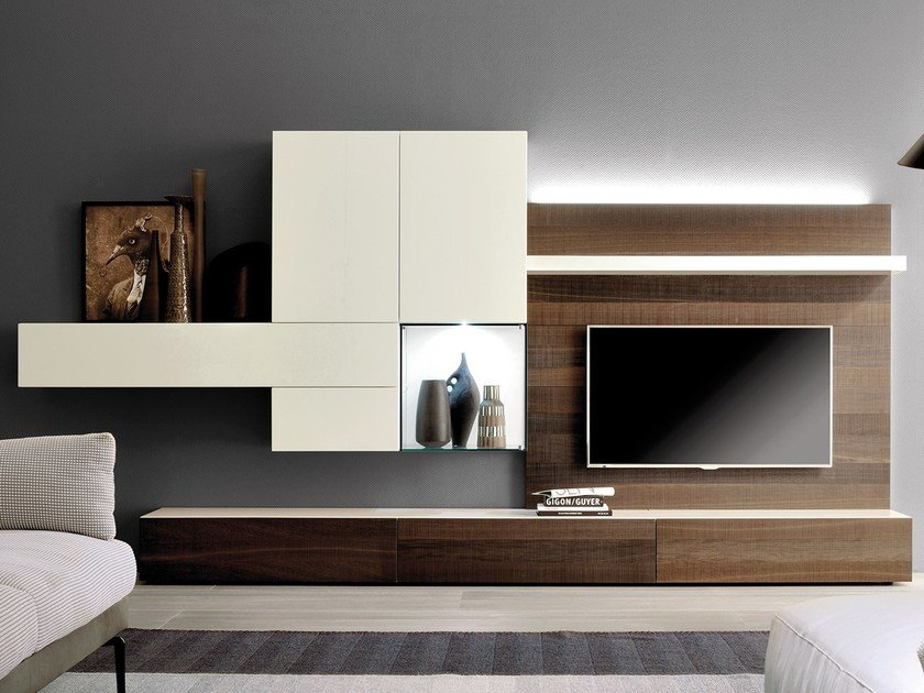 Modular TV wall system GRAPHOS GLASS by Silenia