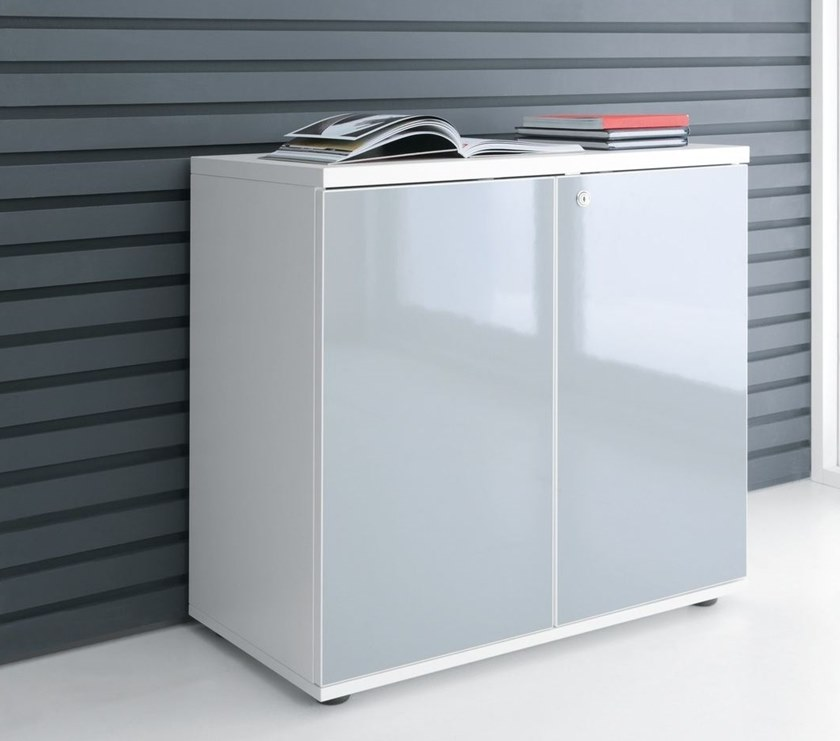 Office storage unit with hinged doors GLOSS | Office storage unit - MDD
