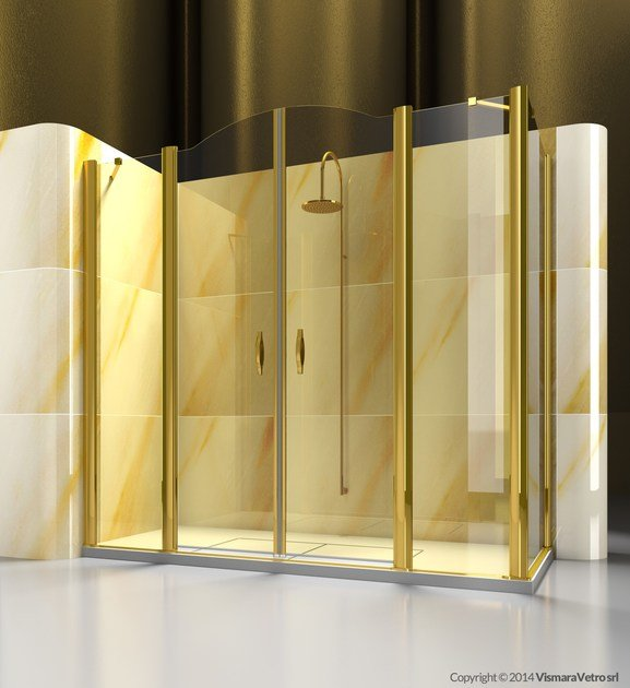 Corner custom glass shower cabin GOLD A4+FD - VISMARAVETRO