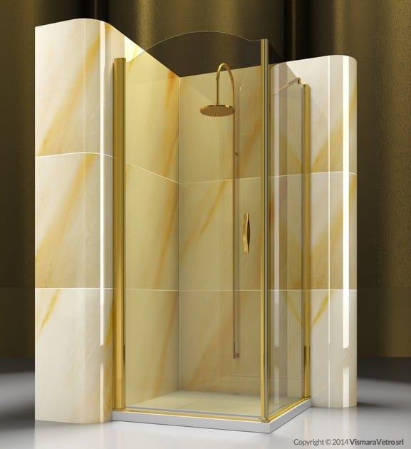Corner custom tempered glass shower cabin GOLD AP+FP - VISMARAVETRO