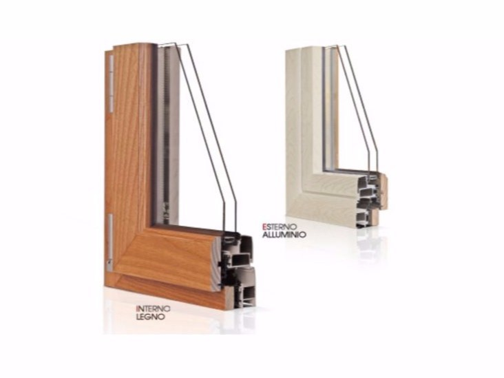 Aluminium and wood thermal break window GOLD EVOLUTION CLASSIC 45° TT650 | Window - Cos.Met. F.lli Rubolino