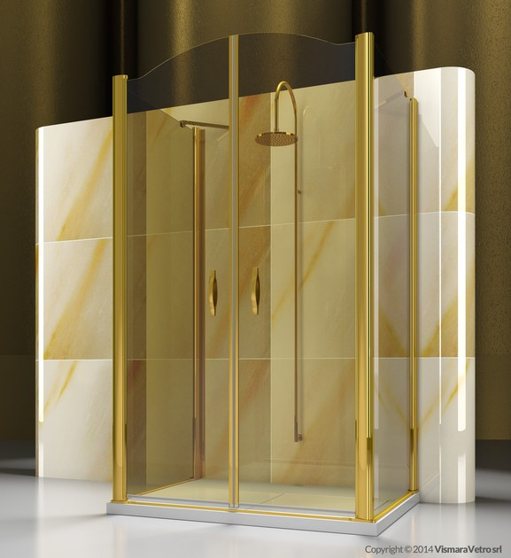 Custom tempered glass shower cabin GOLD FD+AD+FD - VISMARAVETRO