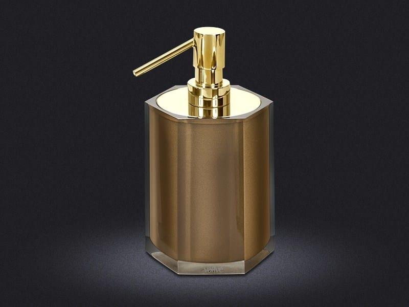 Resin liquid soap dispenser GOLD HEXA | Liquid soap dispenser - Vallvé Bathroom Boutique