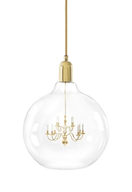Blown glass pendant lamp GOLD KING EDISON GRANDE by Mineheart