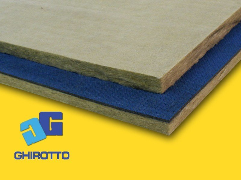 Mineral fibre Sound insulation and sound absorbing panel in mineral fibre GOMMAPAN ROCK by GHIROTTO