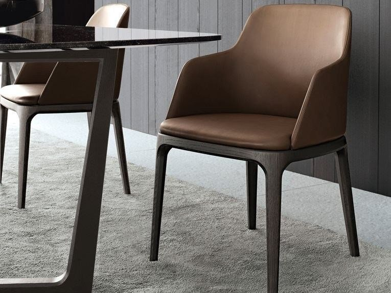 Leather chair with armrests GRACE | Chair with armrests by poliform