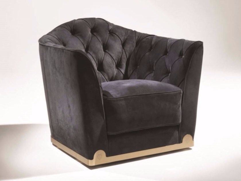 Tufted fabric armchair with armrests GRACE | Fabric armchair - Fratelli Longhi