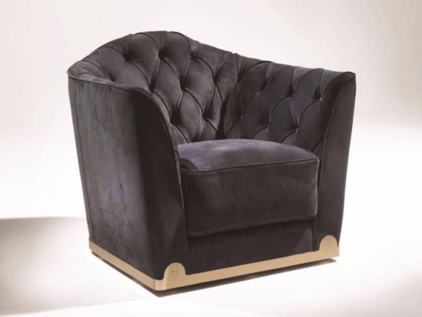 Tufted fabric armchair with armrests GRACE | Fabric armchair - Longhi