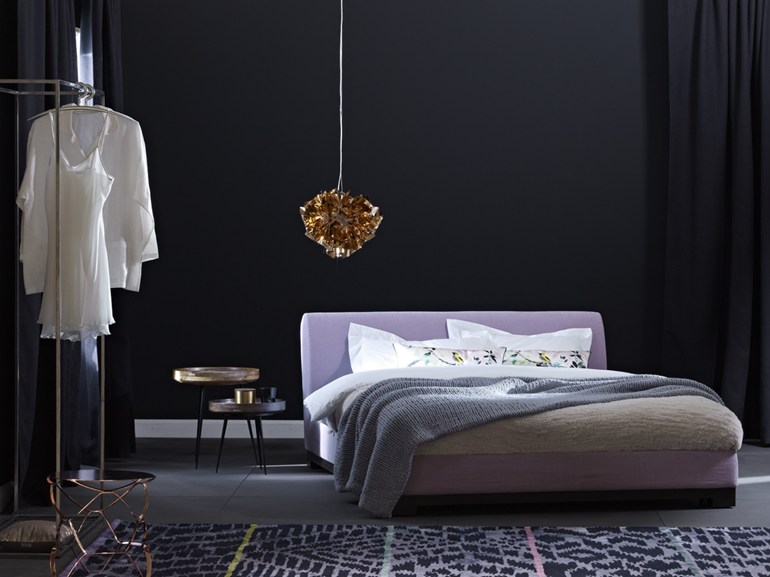 Double bed with upholstered headboard GRACE - Schramm Werkstätten