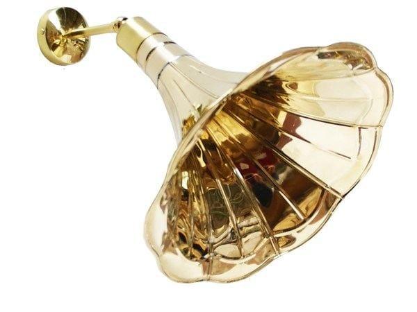 Handmade brass wall lamp GRAMOPHONE QUIRKY MODERN WALL LIGHT - Mullan Lighting