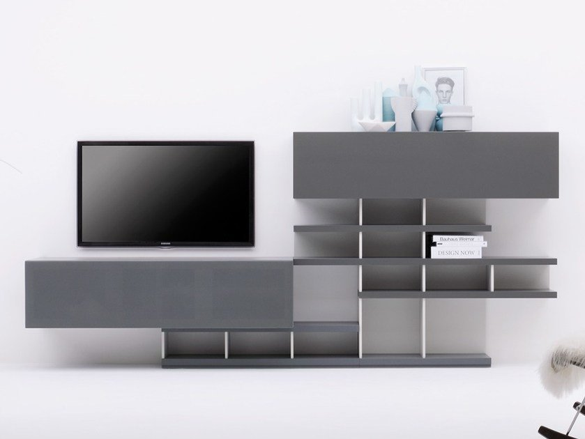 Modular TV cabinet with shelves GRAPHOS-CHARLOTTE | Double-sided TV cabinet by Silenia