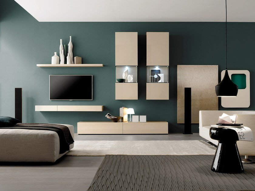 Lacquered modular storage wall GRAPHOS GLASS - Silenia