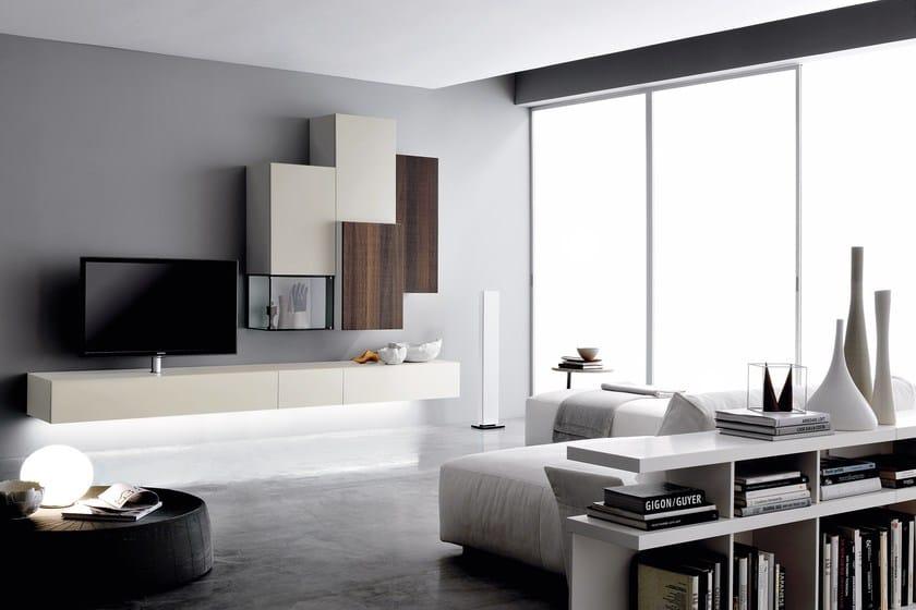 Parete attrezzata fissata a muro laccata in legno in stile moderno con porta tv GRAPHOS GLASS - Silenia