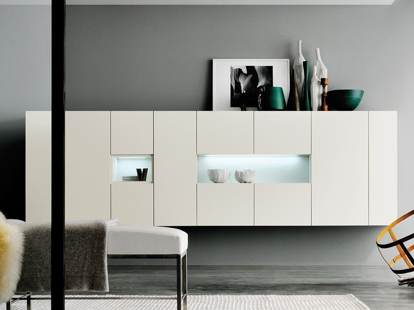 Suspended sideboard with integrated lighting GRAPHOS WIDE | Sideboard by Silenia