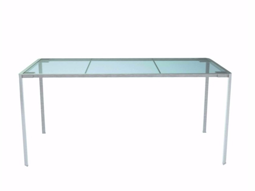 Rectangular Glass and Stainless Steel garden table GREEN - 218_O - Alias