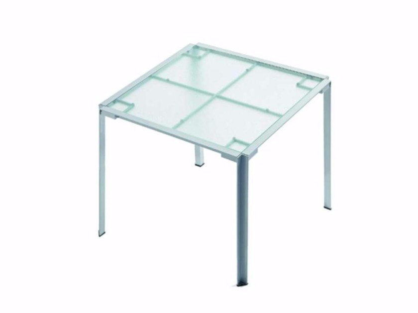 Square Glass and Stainless Steel garden table GREEN - 227_O - Alias