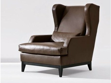 Leather armchair with armrests GREY | Leather armchair - Marac