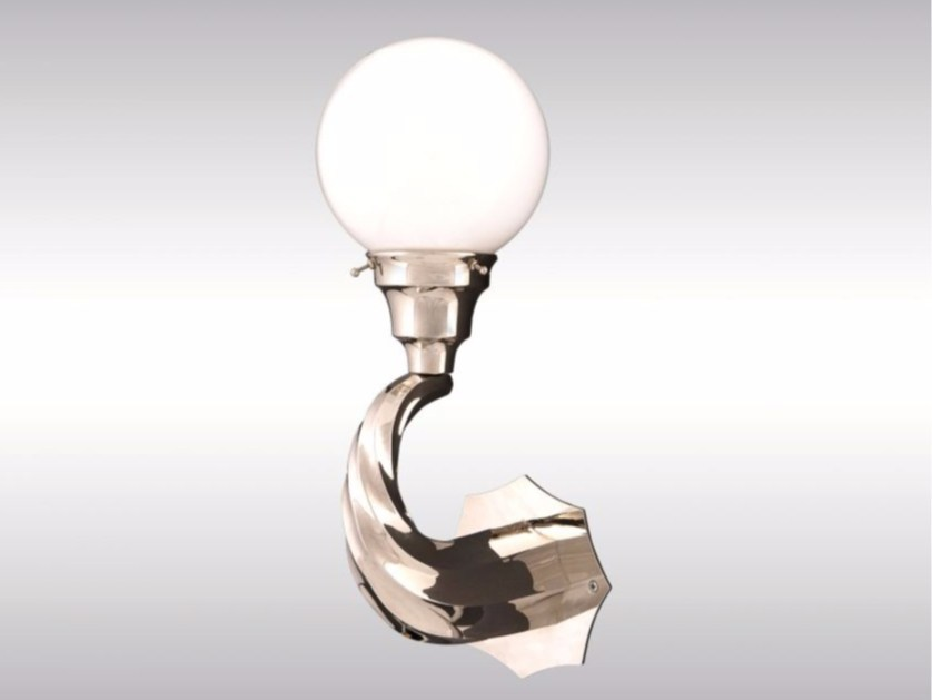 Opal glass and brass wall lamp GRO - Woka Lamps Vienna