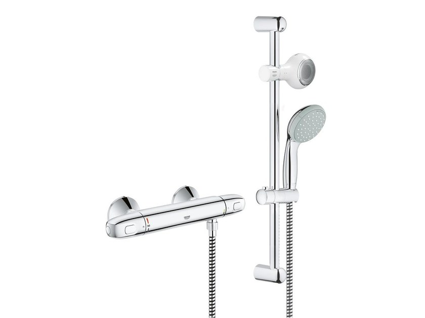 2 hole single handle thermostatic shower mixer GROHTHERM 1000 | Thermostatic shower mixer with hand shower - Grohe