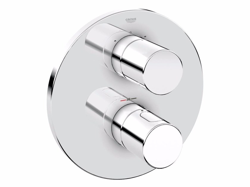Chrome-plated thermostatic shower mixer with plate GROHTHERM 3000 COSMOPOLITAN | Chrome-plated thermostatic shower mixer by Grohe