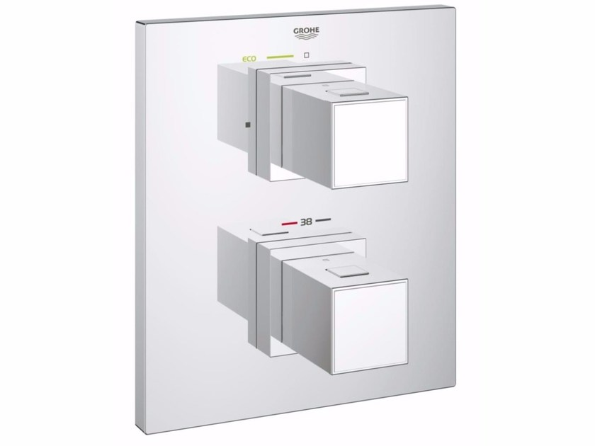 Thermostatic shower mixer with plate GROHTHERM CUBE | Thermostatic shower mixer with plate - Grohe
