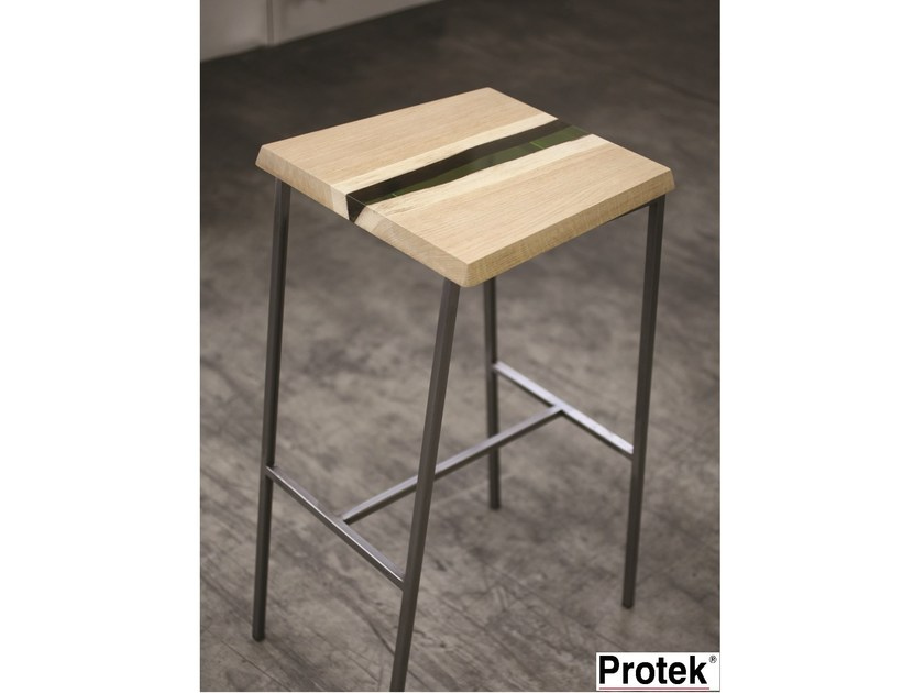 Wooden stool with footrest GROOVE | Stool - PROTEK®