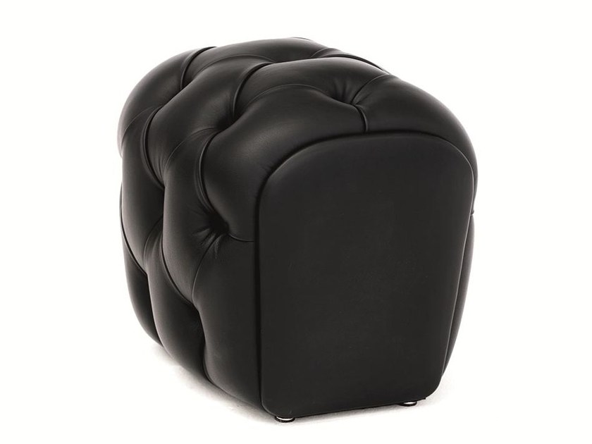 Tufted upholstered leather pouf GUELFO | Pouf - Opinion Ciatti