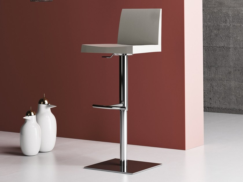 Height-adjustable steel and wood counter stool GUGGENHEIM | Counter stool - Imperial Line