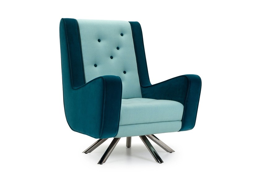 Fabric armchair with armrests GULP | Tufted armchair - Adrenalina