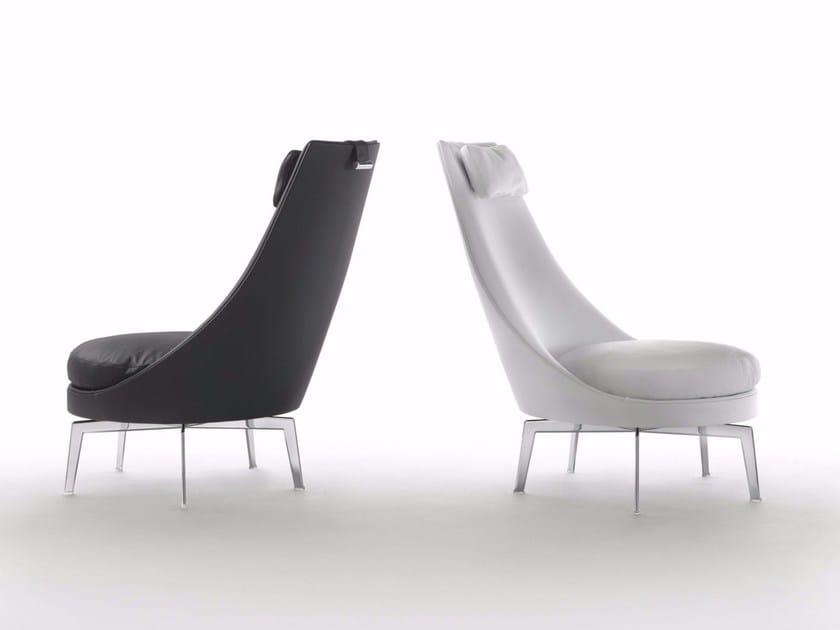 High-back upholstered leather armchair GUSCIOALTO | Armchair - FLEXFORM