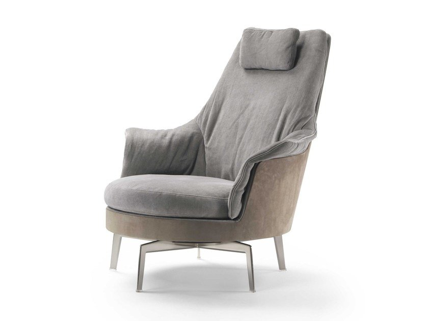 Swivel high-back armchair GUSCIOALTO LIGHT by FLEXFORM