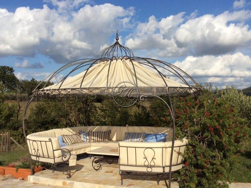 Wrought iron gazebo with bench Gazebo 6 - Garden House Lazzerini