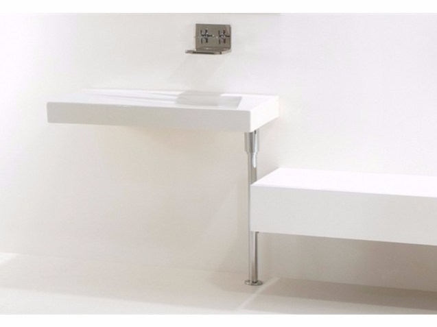 Rectangular wall-mounted ceramic washbasin OZ 95 | Wall-mounted washbasin - GSG Ceramic Design